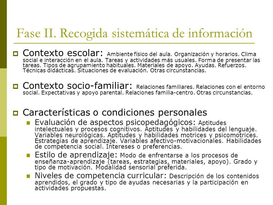 Fase II. Recogida sistemática de información