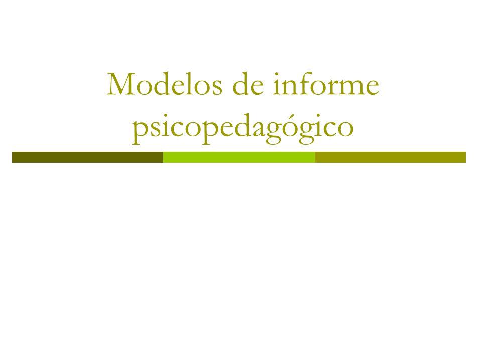 Modelos de informe psicopedagógico