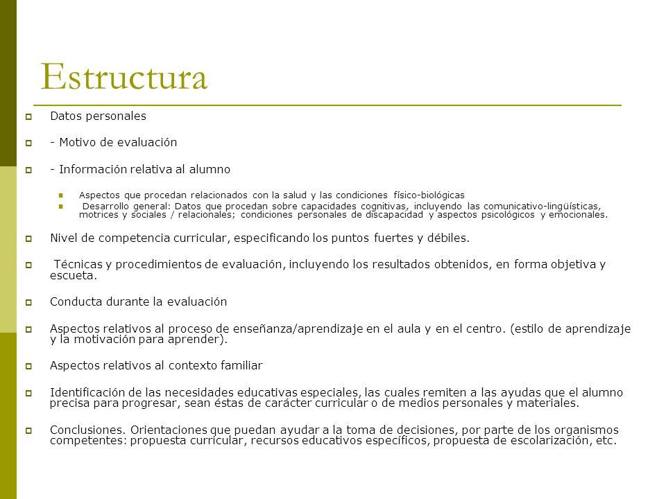 Estructura Datos personales - Motivo de evaluación