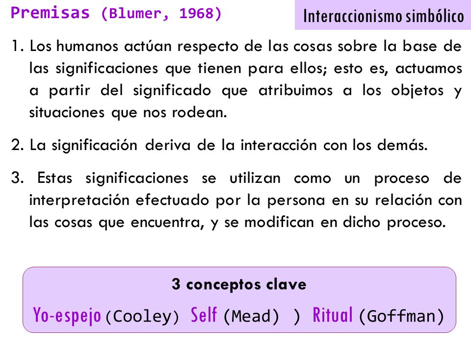 Yo-espejo (Cooley) Self (Mead) ) Ritual (Goffman)