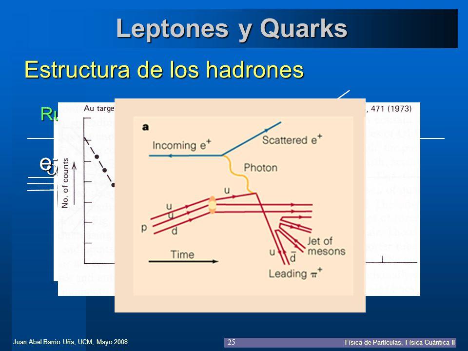 Leptones y Quarks Estructura de los hadrones e- a Rutherford 1912