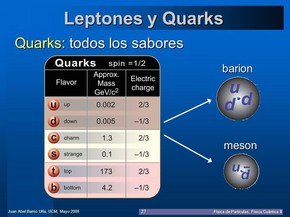 Leptones y Quarks Quarks: todos los sabores barion meson