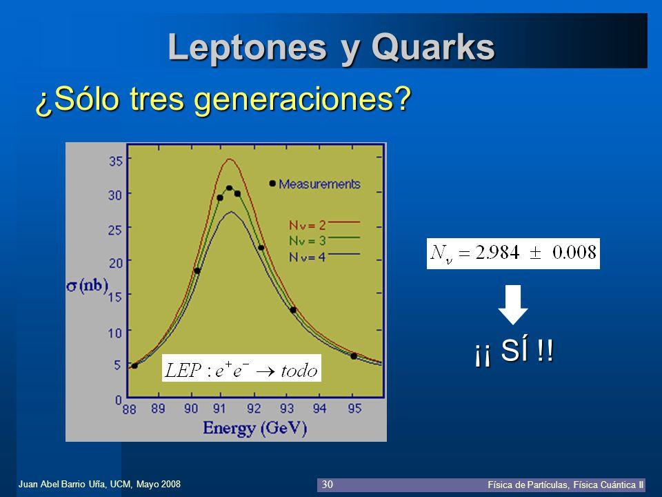 Leptones y Quarks ¿Sólo tres generaciones ¡¡ SÍ !!