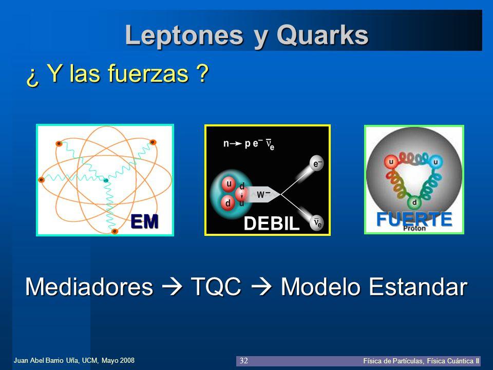 Leptones y Quarks ¿ Y las fuerzas Mediadores  TQC  Modelo Estandar