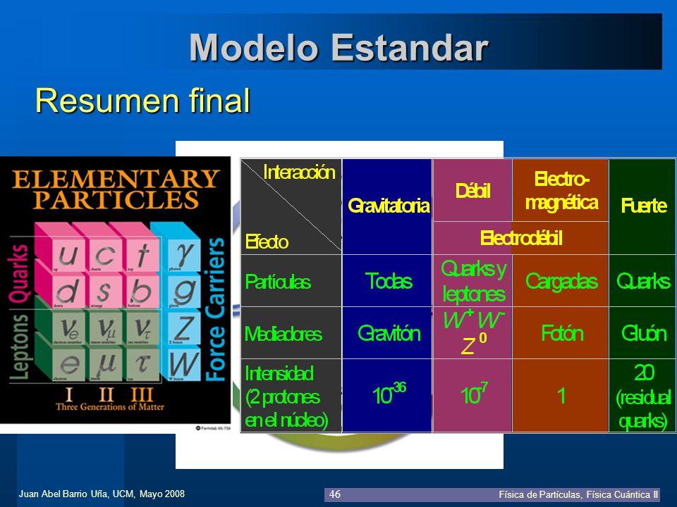 Modelo Estandar Resumen final Resumen de partículas e interacciones