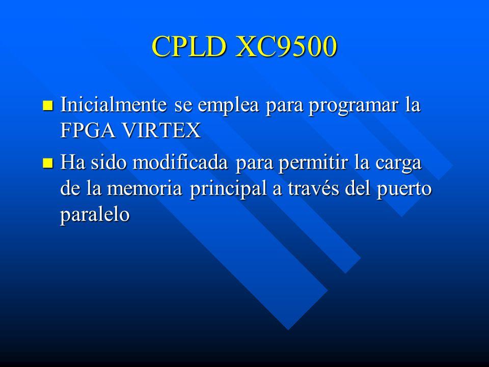 CPLD XC9500 Inicialmente se emplea para programar la FPGA VIRTEX