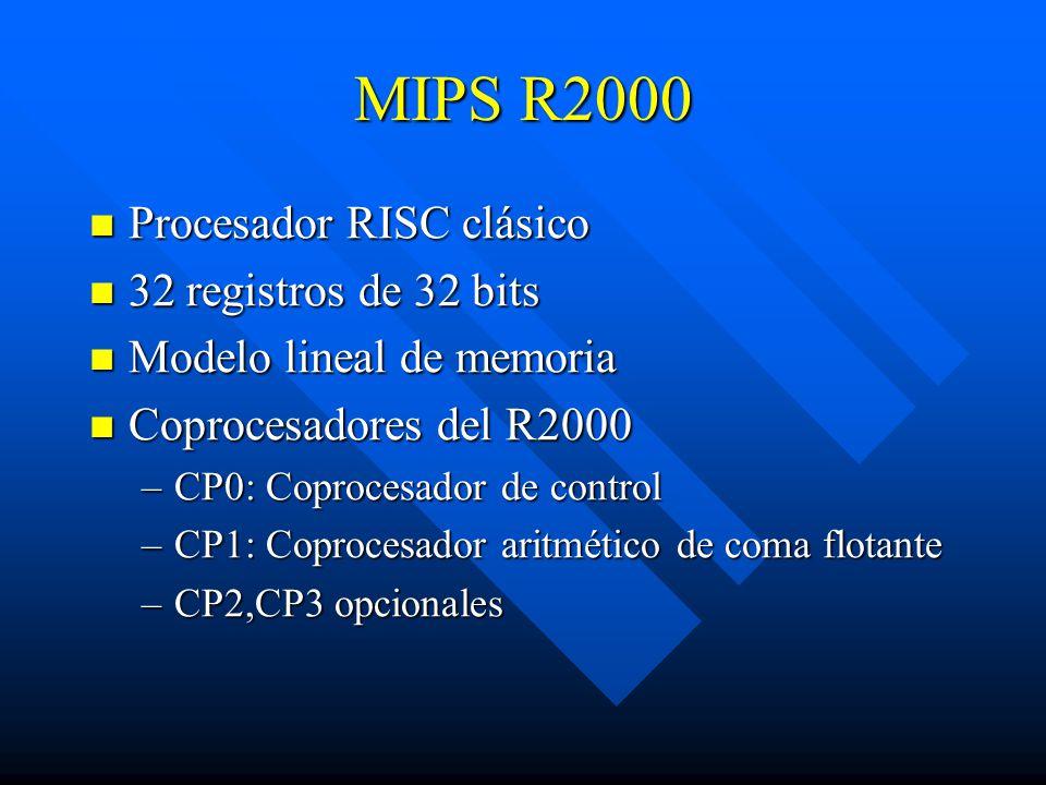 MIPS R2000 Procesador RISC clásico 32 registros de 32 bits