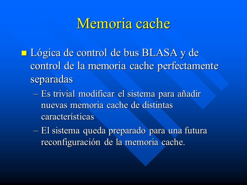 Memoria cache Lógica de control de bus BLASA y de control de la memoria cache perfectamente separadas.