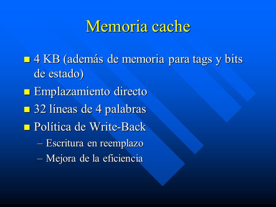 Memoria cache 4 KB (además de memoria para tags y bits de estado)