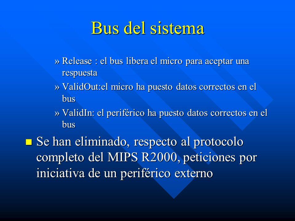 Bus del sistema Release : el bus libera el micro para aceptar una respuesta. ValidOut:el micro ha puesto datos correctos en el bus.