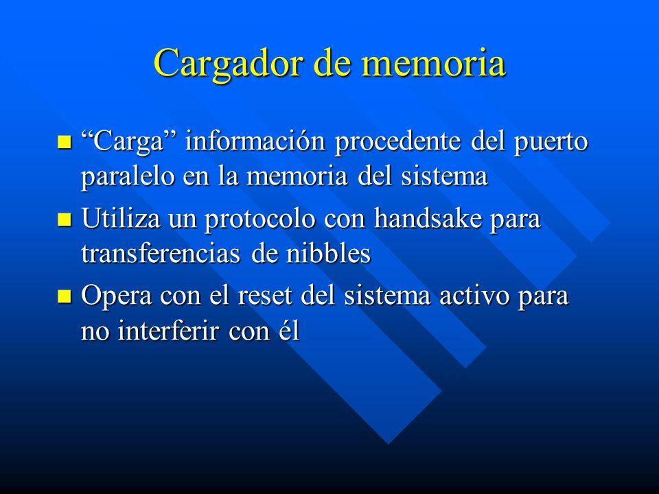 Cargador de memoria Carga información procedente del puerto paralelo en la memoria del sistema.