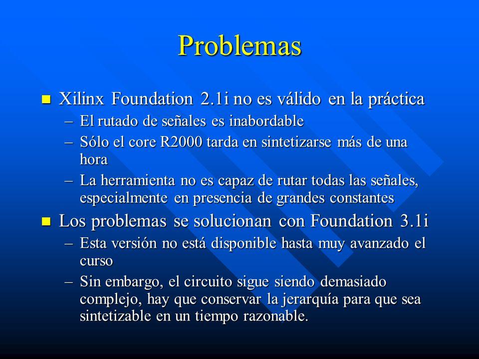 Problemas Xilinx Foundation 2.1i no es válido en la práctica