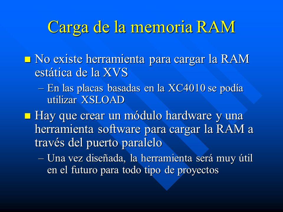 Carga de la memoria RAM No existe herramienta para cargar la RAM estática de la XVS. En las placas basadas en la XC4010 se podía utilizar XSLOAD.