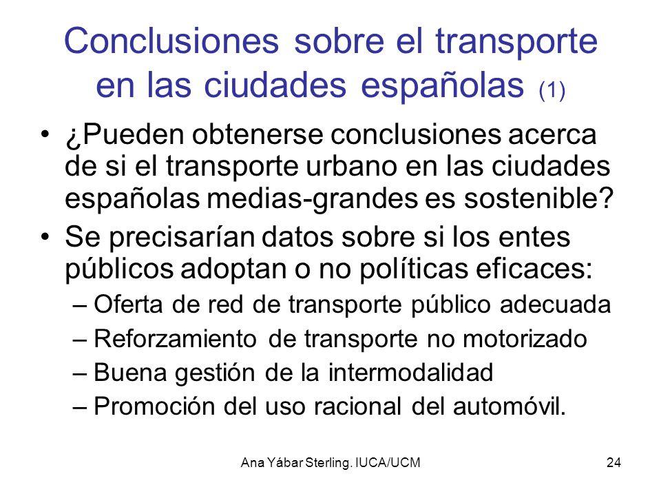 Conclusiones sobre el transporte en las ciudades españolas (1)