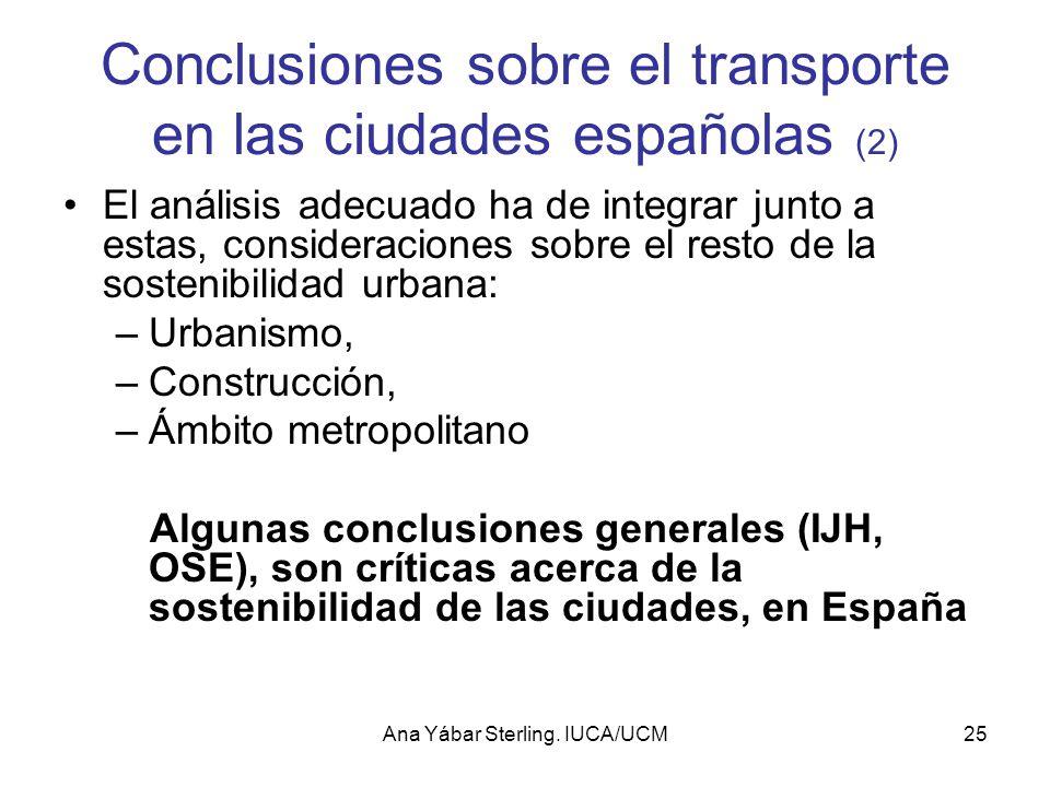 Conclusiones sobre el transporte en las ciudades españolas (2)