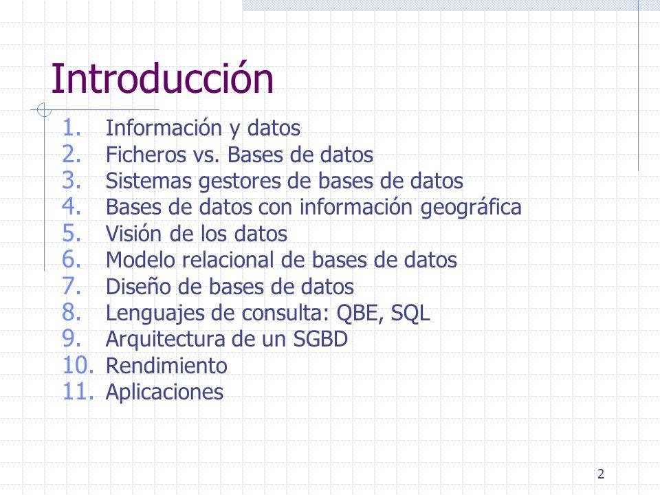 Introducción Información y datos Ficheros vs. Bases de datos