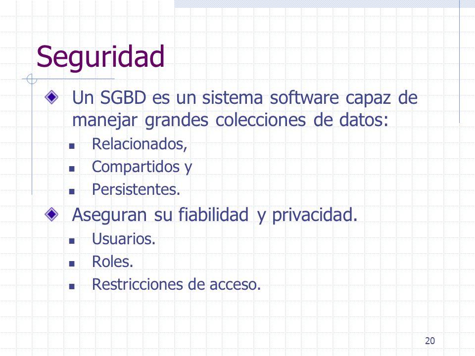 Seguridad Un SGBD es un sistema software capaz de manejar grandes colecciones de datos: Relacionados,