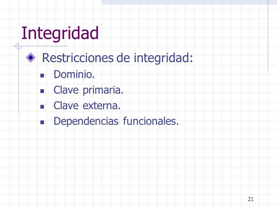 Integridad Restricciones de integridad: Dominio. Clave primaria.