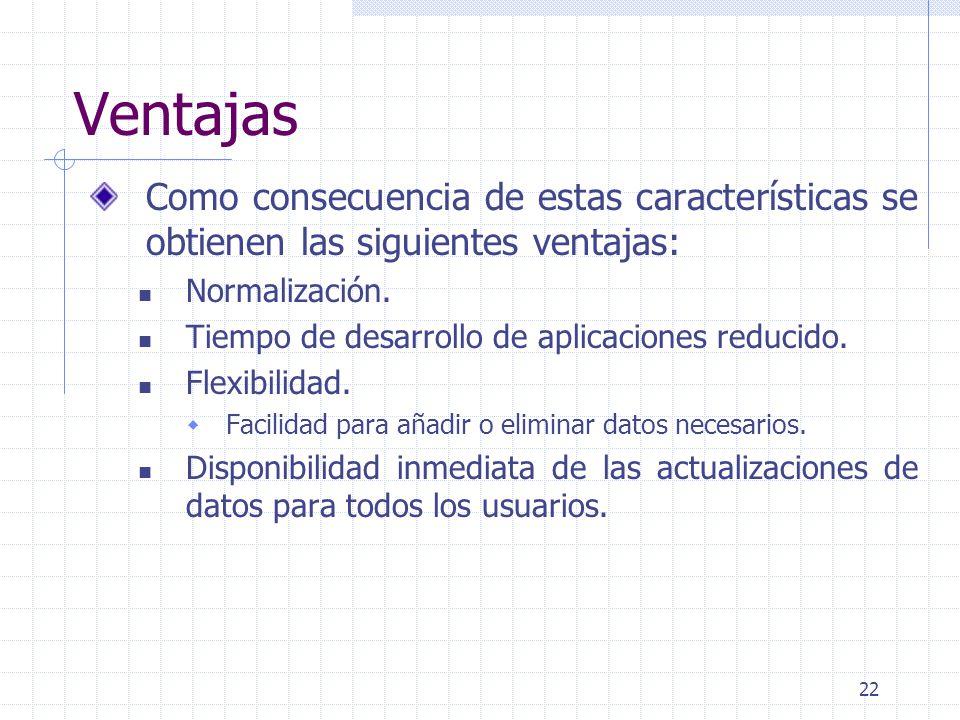Ventajas Como consecuencia de estas características se obtienen las siguientes ventajas: Normalización.