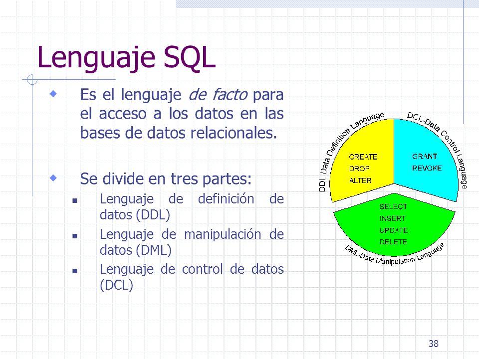 Lenguaje SQL Es el lenguaje de facto para el acceso a los datos en las bases de datos relacionales.