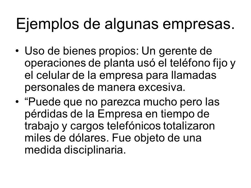 Ejemplos de algunas empresas.