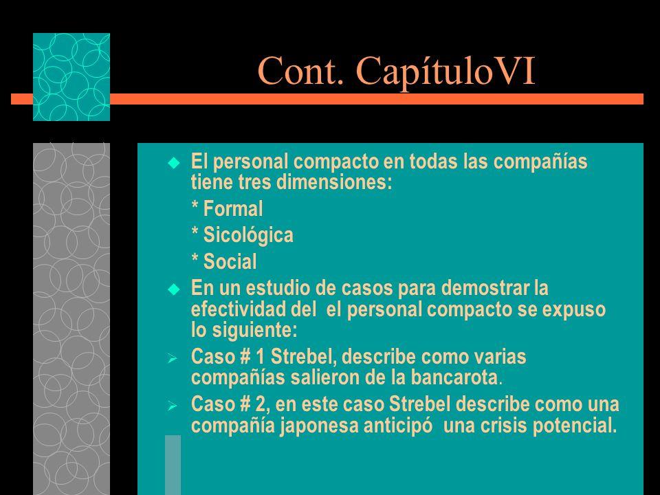 Cont. CapítuloVI El personal compacto en todas las compañías tiene tres dimensiones: * Formal. * Sicológica.