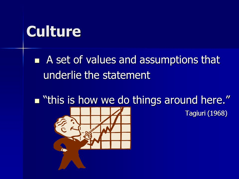 Culture A set of values and assumptions that underlie the statement
