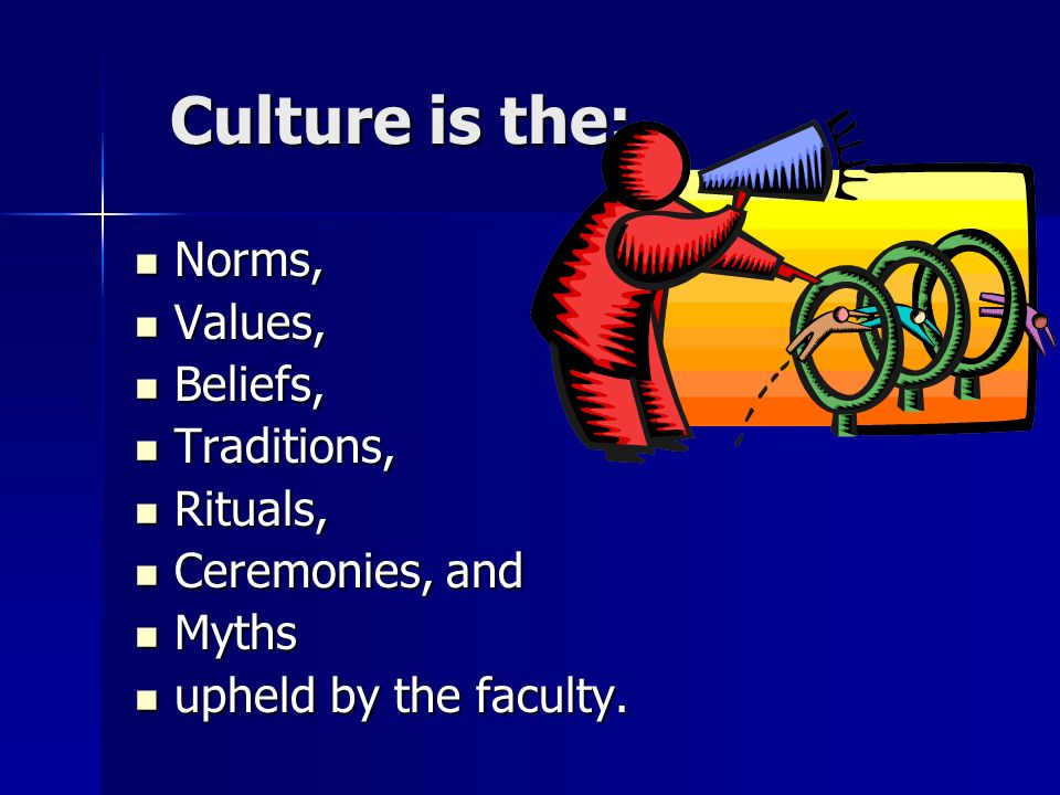 Culture is the: Norms, Values, Beliefs, Traditions, Rituals,