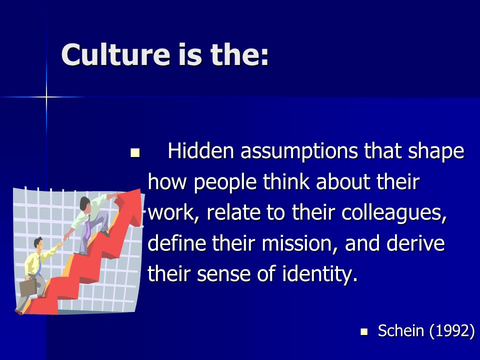 Culture is the: Hidden assumptions that shape