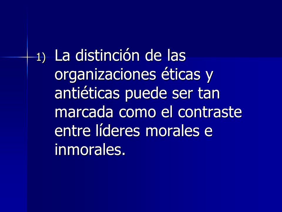 La distinción de las organizaciones éticas y antiéticas puede ser tan marcada como el contraste entre líderes morales e inmorales.