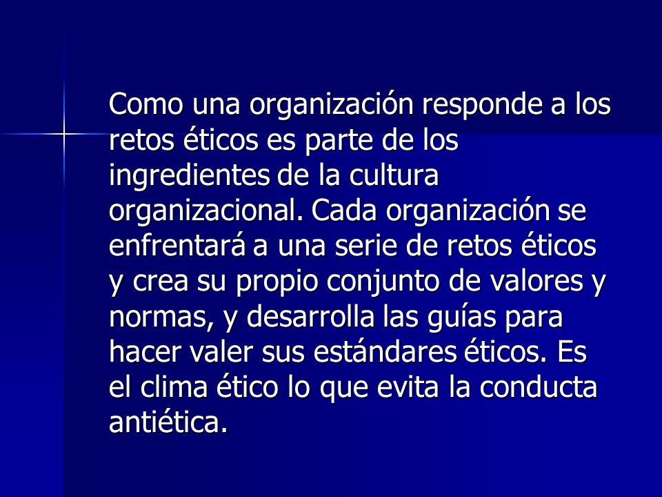 Como una organización responde a los retos éticos es parte de los ingredientes de la cultura organizacional.