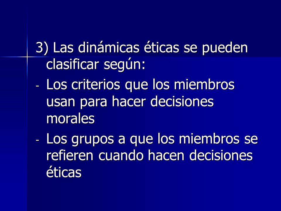 3) Las dinámicas éticas se pueden clasificar según: