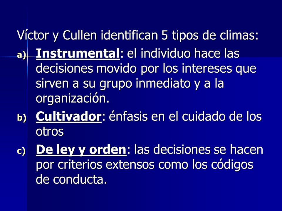 Víctor y Cullen identifican 5 tipos de climas: