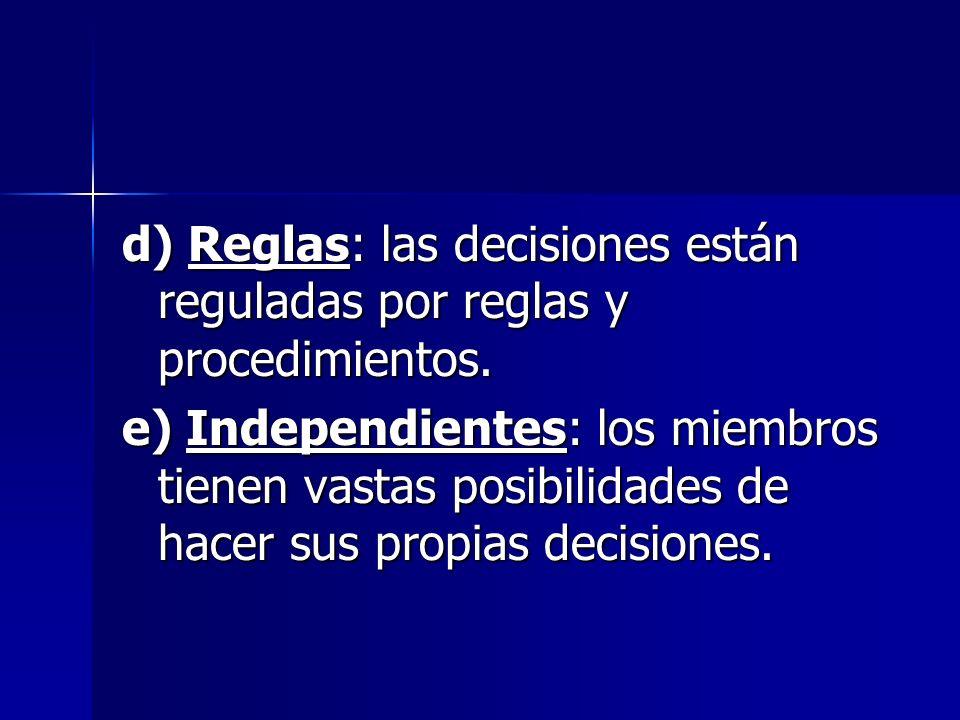 d) Reglas: las decisiones están reguladas por reglas y procedimientos.