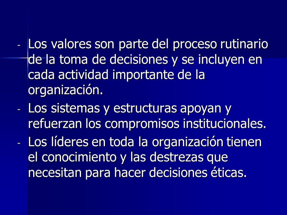 Los valores son parte del proceso rutinario de la toma de decisiones y se incluyen en cada actividad importante de la organización.