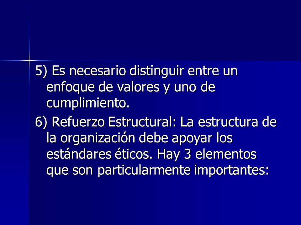 5) Es necesario distinguir entre un enfoque de valores y uno de cumplimiento.