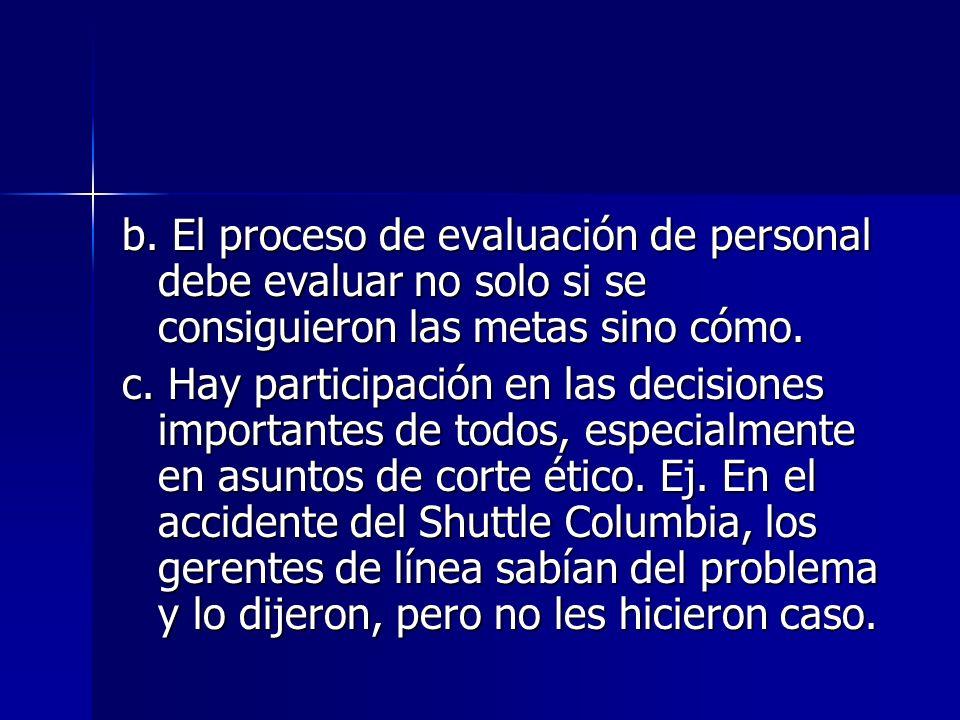 b. El proceso de evaluación de personal debe evaluar no solo si se consiguieron las metas sino cómo.