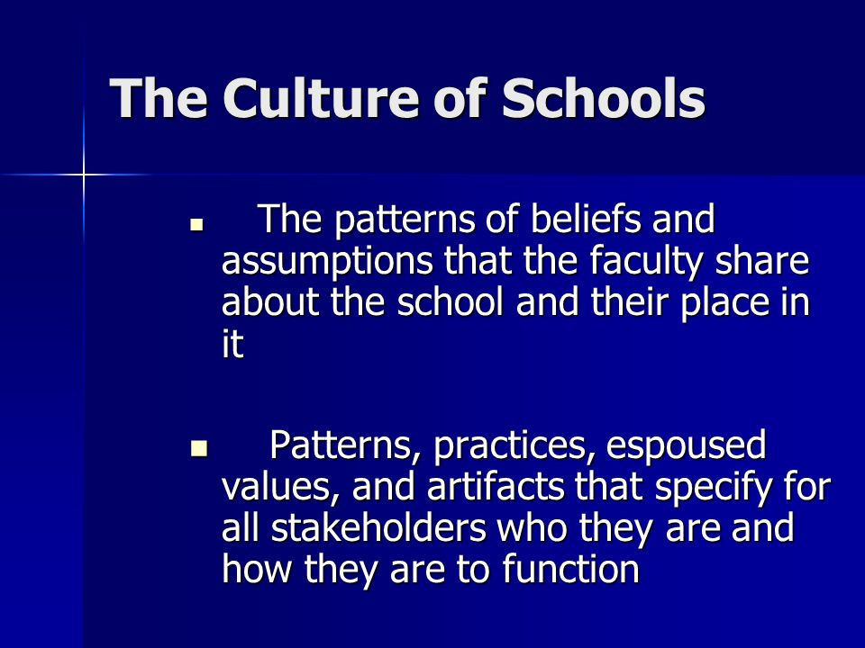 The Culture of Schools The patterns of beliefs and assumptions that the faculty share about the school and their place in it.