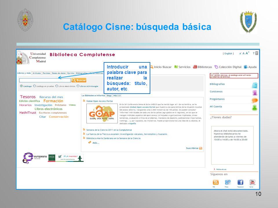 Catálogo Cisne: búsqueda avanzada
