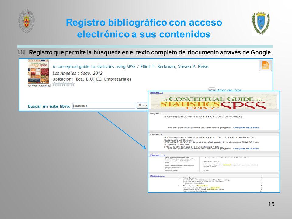 Registro bibliográfico con acceso electrónico a sus contenidos