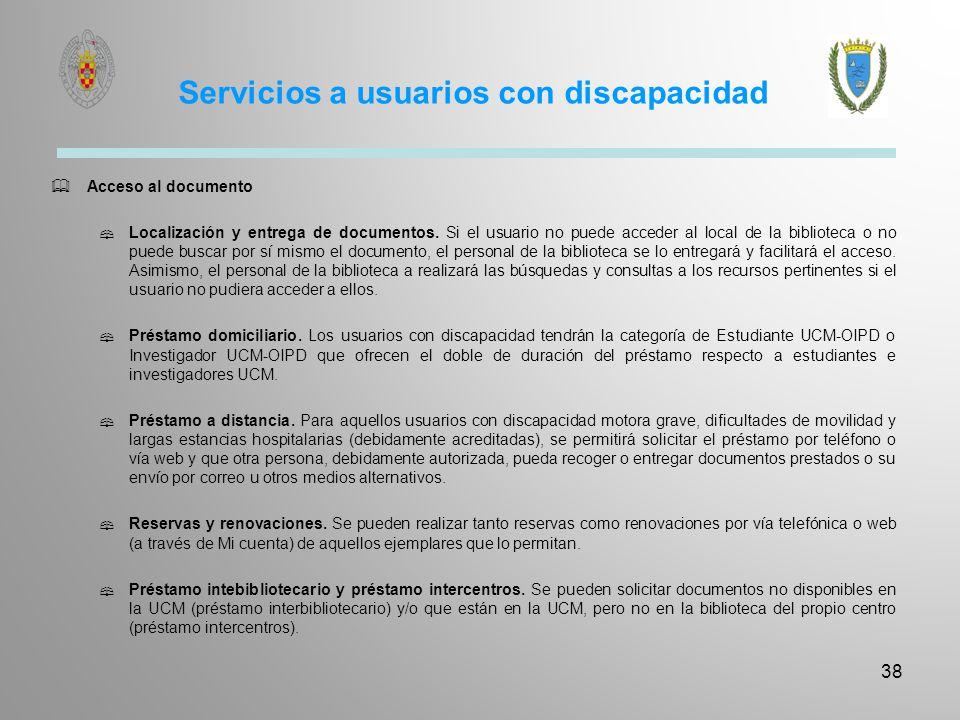 Servicios a usuarios con discapacidad
