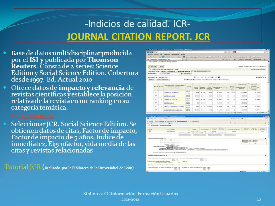 -Indicios de calidad. ICR- JOURNAL CITATION REPORT. JCR