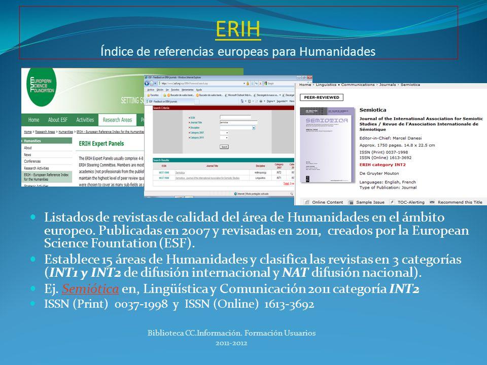 ERIH Índice de referencias europeas para Humanidades