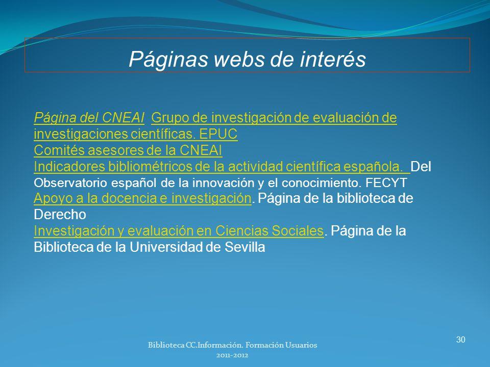 Páginas webs de interés