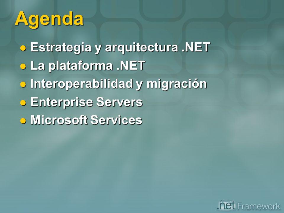 Agenda Estrategia y arquitectura .NET La plataforma .NET