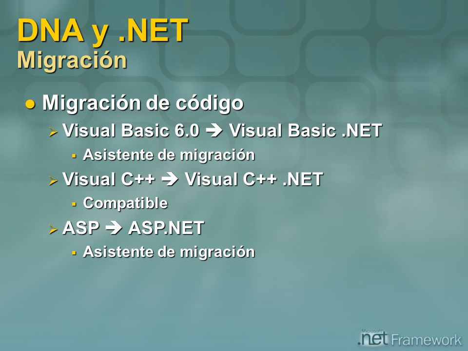 DNA y .NET Migración Migración de código