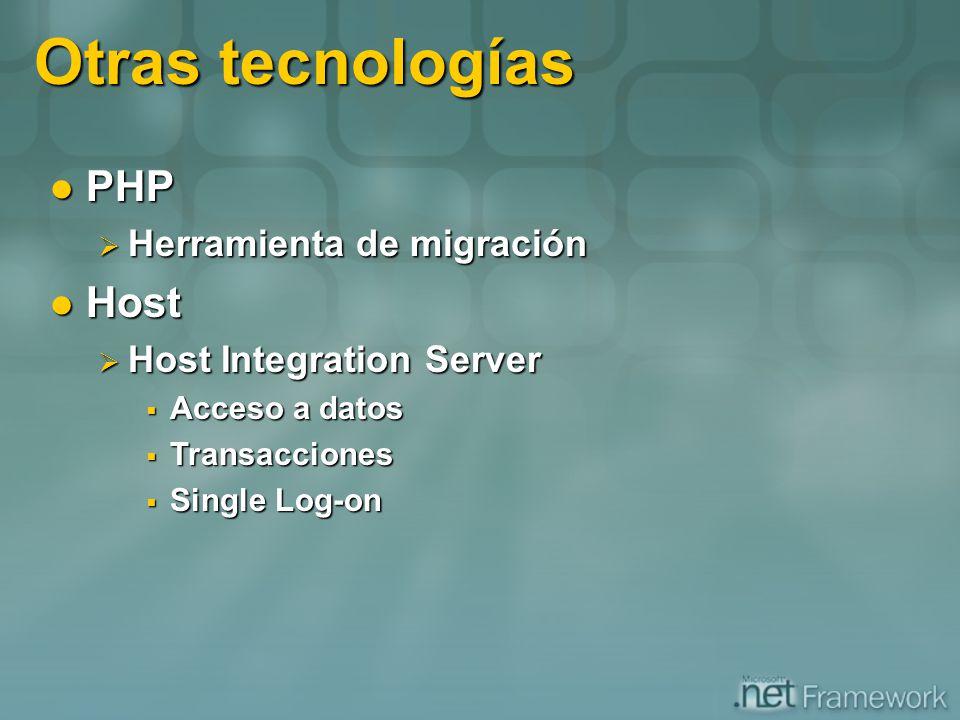 Otras tecnologías PHP Host Herramienta de migración