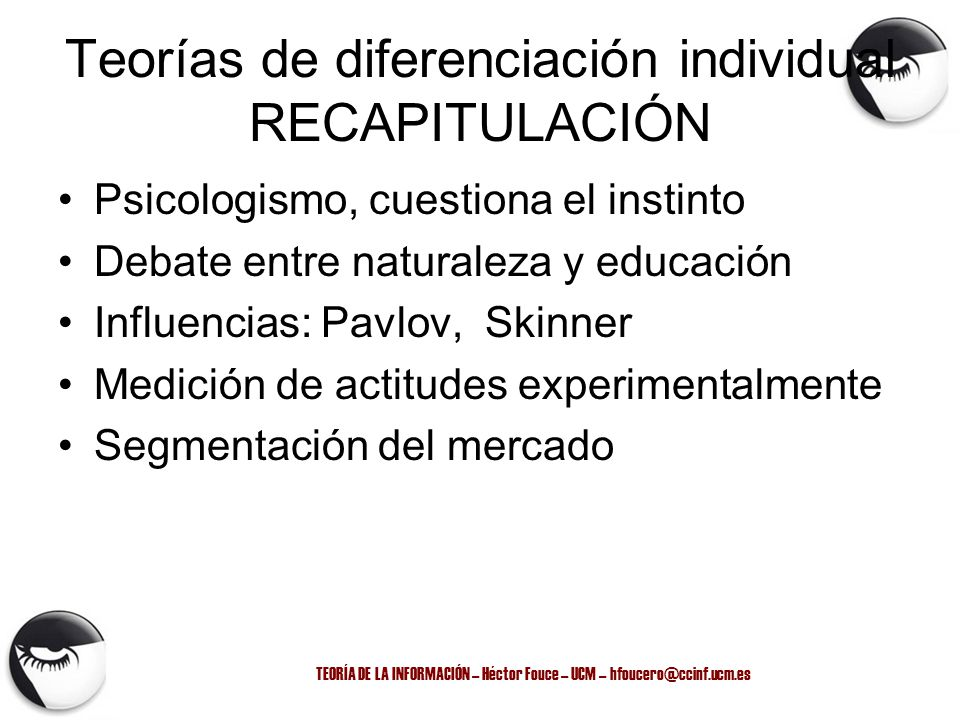 Teorías de diferenciación individual RECAPITULACIÓN