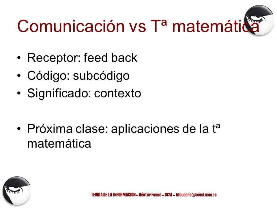 Comunicación vs Tª matemática