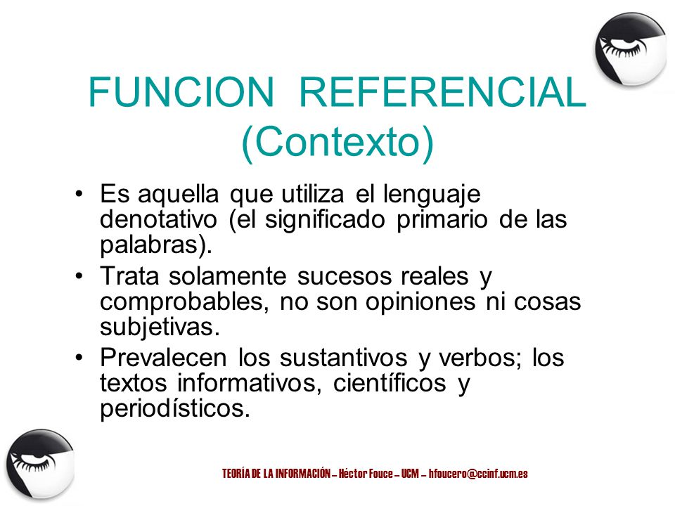 FUNCION REFERENCIAL (Contexto)